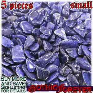 5 Small 10mm Free Ship Tumbled Gem Stone Crystal Natural - Dumortierite