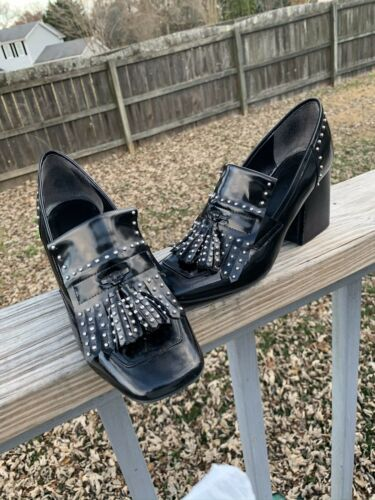 Marc Fisher studded loafer patent heels BLACK size