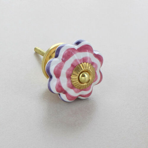 Colour Stripes Flower Ceramic Door Knobs