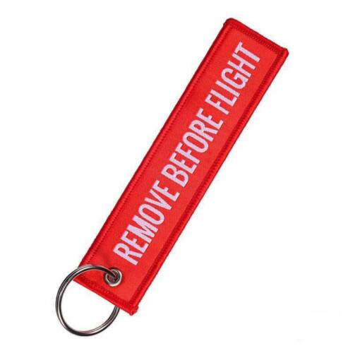 Remove Before Flight Embroidered Canvas Specil Luggage Tag Label Key Chain