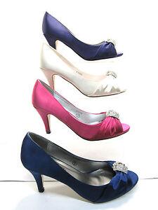 SEÑORAS EN Zapatos Peep Toe Zapatos de noche f10059- blanco fucsia azul y lila