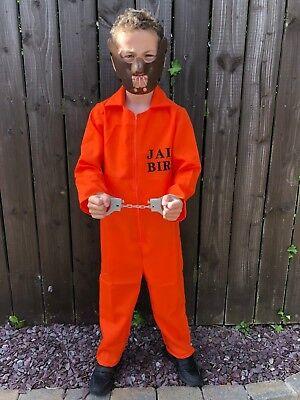 CHILD/'S CONVICT PRISONER  COUNTY JAIL INMATE ORANGE JUMPSUIT KIDS FANCY DRESS