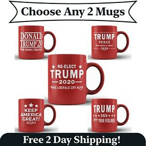 4 Pack Trump 2020 F Your Feelings Red Ceramic Coffee Mug Funny MAGA Donald Cup