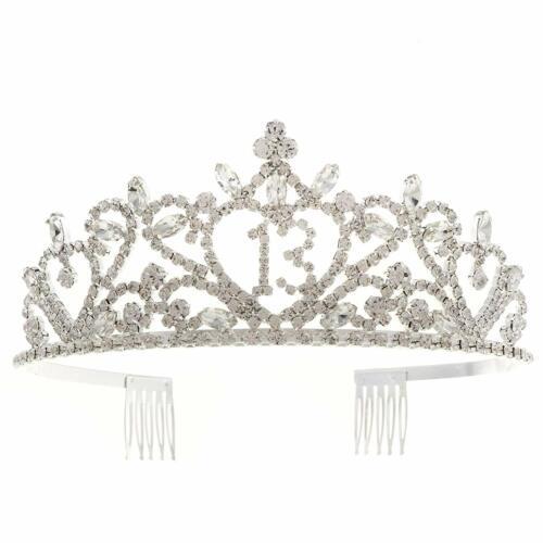 Silver Heart 13 Tiara 13th Birthday Party Accessories Supplies Crown Silver