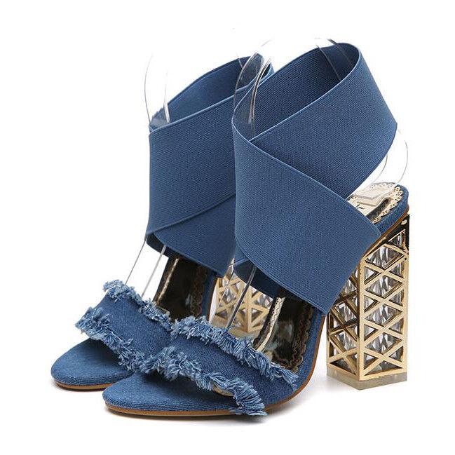 sabot ciabatte 12 cm eleganti  blu  tacco quadrato Sandaleei simil pelle 9982