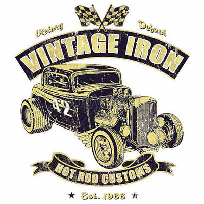 Hot Rod Rockabilly Oldtimer US Car Hot Rod Vintage Iron T-Shirt weiß  Gr. S-3XL