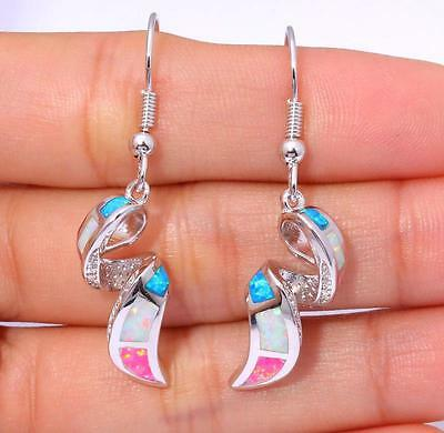 "White Blue Pink Opal Women Jewelry Gemstone Silver Dangle Earrings 1 5/8"" OH3348"