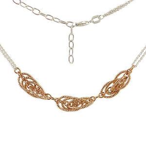 Kette-Silber-925-Collier-rosevergoldet-Erbskette-zweireihig-42-47-cm-verstellbar