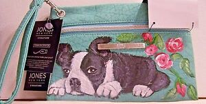 Hand-painted-Boston-Terrier-Jones-New-York-Charging-Pouch-Mint-Green-Wristlet