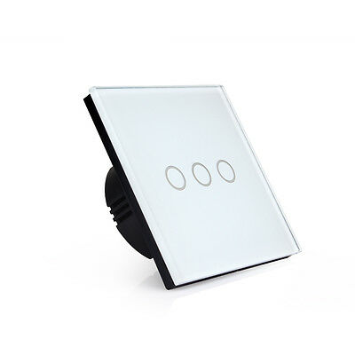 1 2 3 Gang 1 Way LED Crystal Glass Panel Light Touch Screen Wall Switch Europe