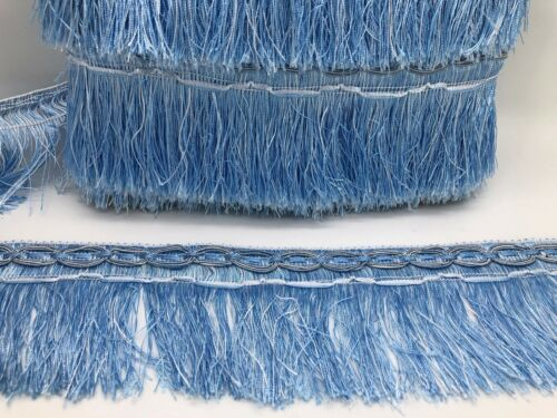 Bargain Price 21metre Light Blue Fringe Trim 10cm Wide Fringing