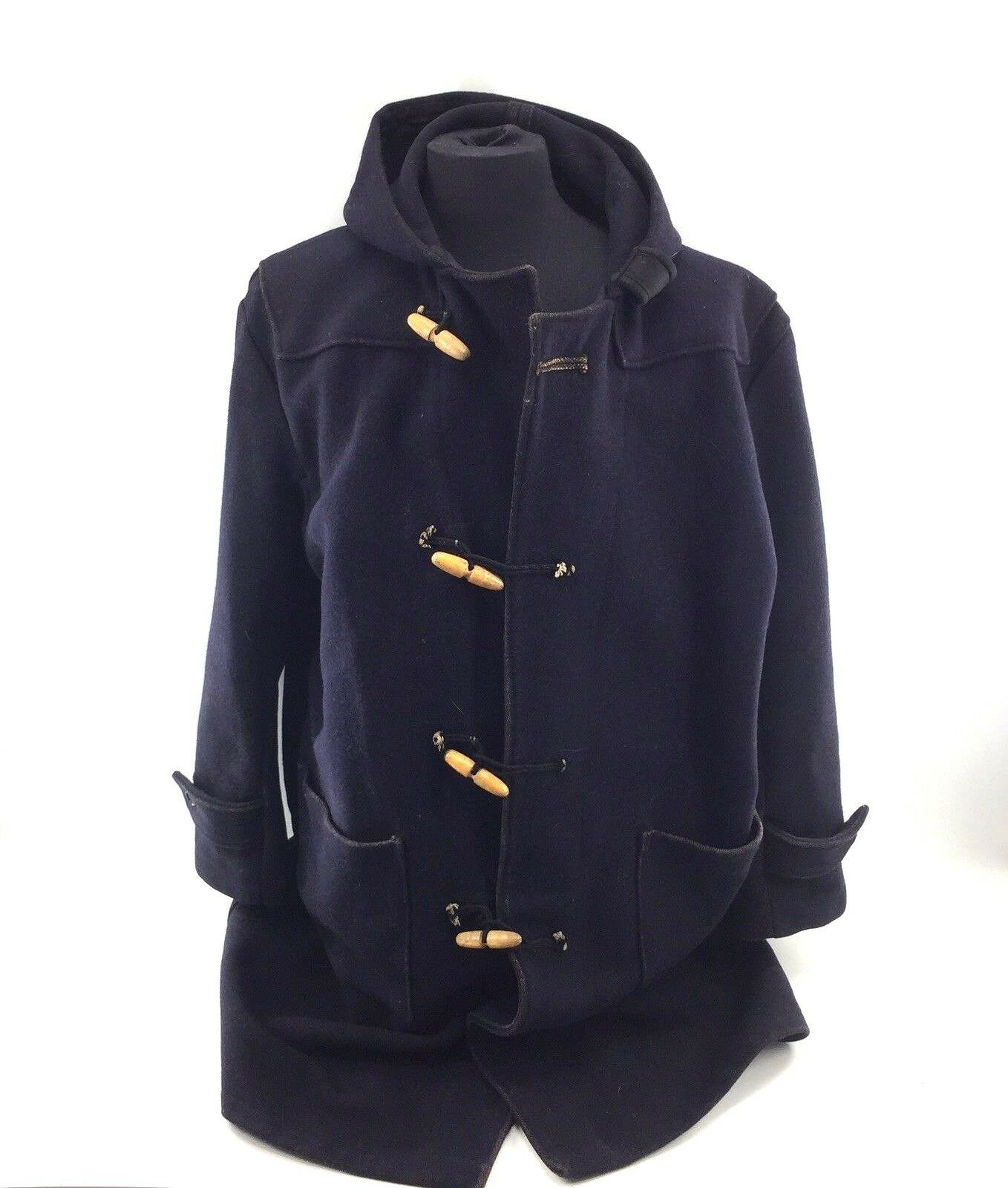 The Convoy Coat Long Wool Duffel Pea Coat Size Large Dark bluee Toggle Hood A8B