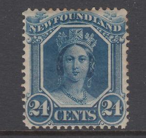 Newfoundland-Sc-31-MLH-1865-24c-blue-Queen-Victoria-on-translucent-paper-F-VF