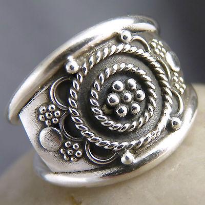 Wide Granulation Shield Ring Size US 8.75 SILVERSARI Solid 925 Sterling Silver
