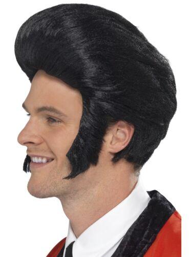 Disfraces Y Ropa De época Peluca Negra 50s Rock N Roll Elvis Para Hombre Vestido De Fantasía Accesorio Nuevo Bulldoggin