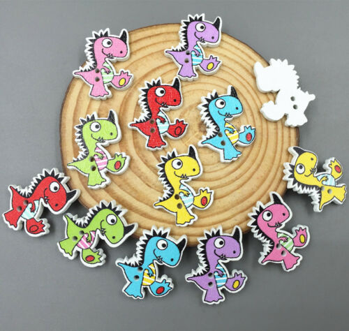 Cartoon Wooden dinosaur Buttons Sewing crafts decoration Scrapbooking 27mm