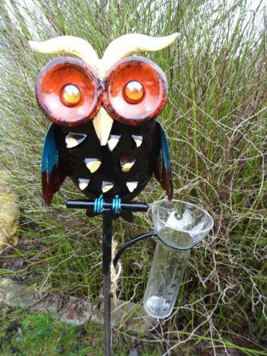 B Gartenstecker Regenmesser bunte Eule aus Metall mit Glaseinsatz Vogel
