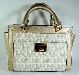 3e8c6e342695 Michael Kors Tina Small Top Zip Satchel Handbag Crossbody Vanilla MK ...