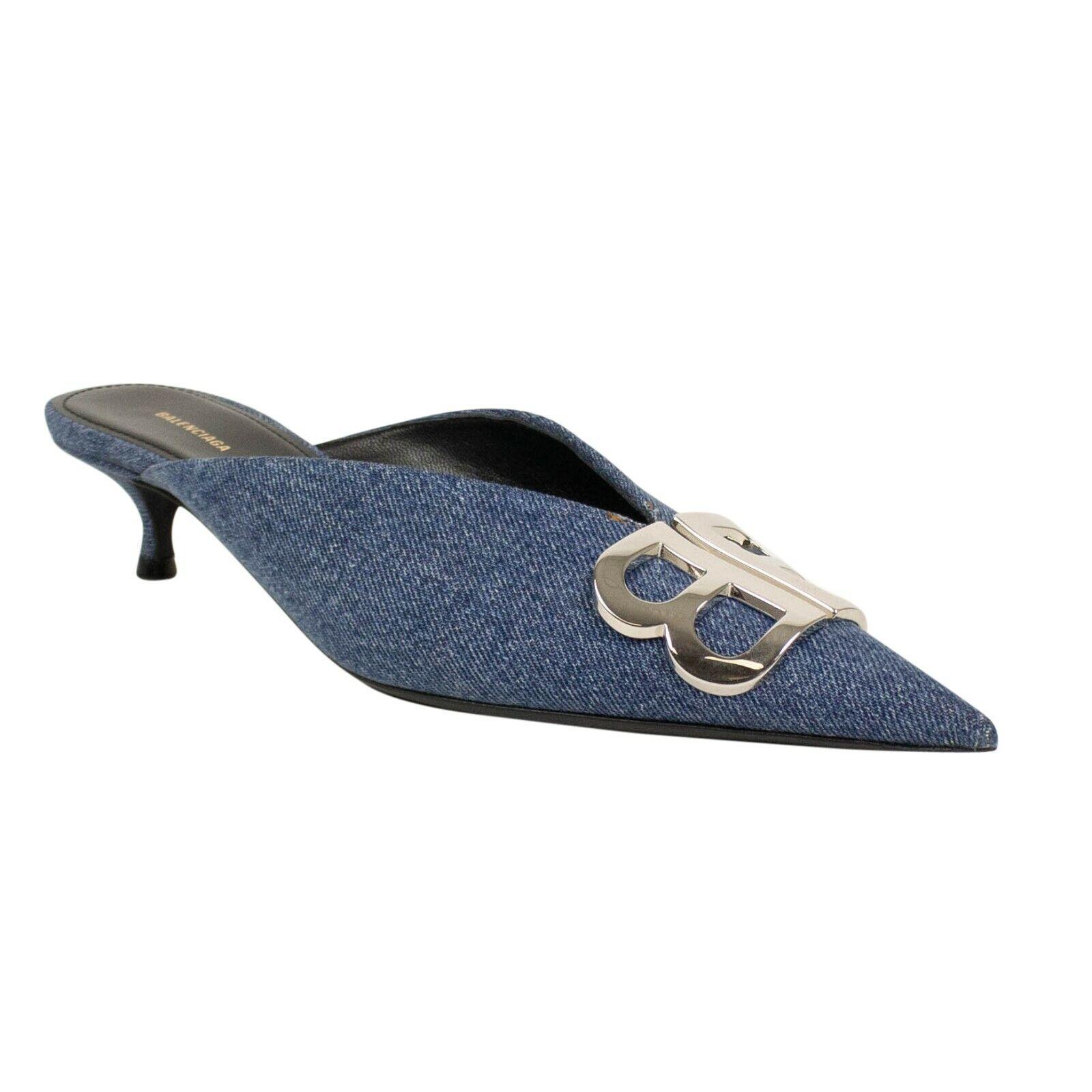 NIB BALENCIAGA bluee Vintage Denim Leather Kitten Heels Mules shoes Size 9.5 39.5