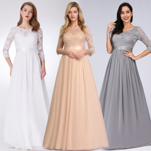 UK Ever-Pretty Plus Size Lace Long Evening Dress Bridesmaid Prom Party Gown 7412