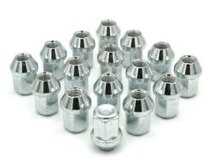 16x-M12-x-1-5-19mm-Hex-Tapered-Seat-Closed-Wheel-Nuts-Silver-Ford-Fiesta