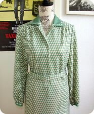 Vintage 60er 70er KLEID Shift Dress Trapeze Sekretärin Grün Green M L Robe 60´s