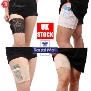 Pair-Anti-Chafing-Thigh-Pocket-Bands-Women-Stylish-Non-Slip-Lace-Elastic-Sock-UK