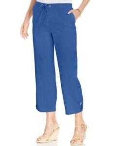 9c814591831 JM Collection Womens Linen Roll Tab Drawstring Capri Pants Persian ...