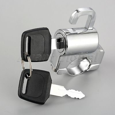 Motorcycle Universal Helmet Lock Metal For Harley Chrome Black 7//8 Tube With 2 Keys Cyclist store Color : Silver