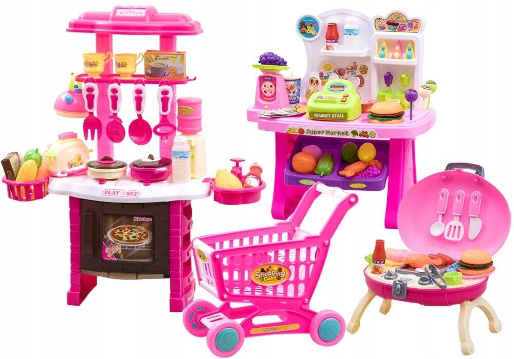 Spielzeugküche Kindergril Barbecue Kinderküche Einkaufswagen Zubehör Kaufladen
