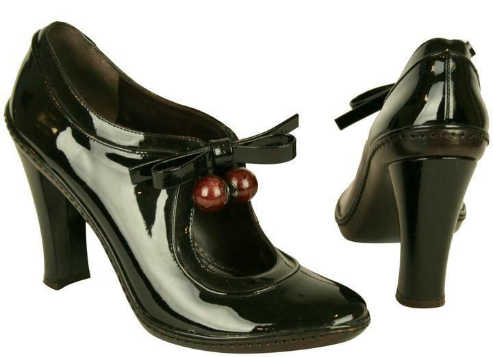 CELINE ANKLE BLACK PATENT LEATHER SHOES WITH BLOCK HEELS & ANKLE CELINE STRAPS PUMPS, SIZE 39 effd93