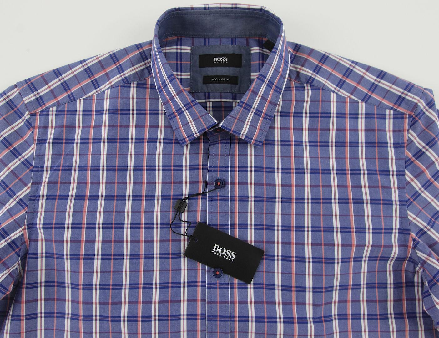 Men's HUGO BOSS Periwinkle bluee Plaid LOK Shirt XL Extra Large NWT NEW +