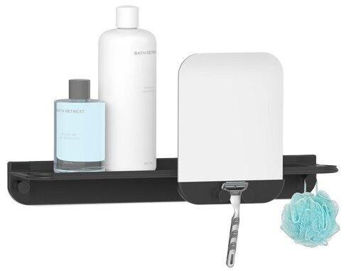 Glide estante de ducha con espejo-esquinero de aluminio inoxidable sin taladrar Black