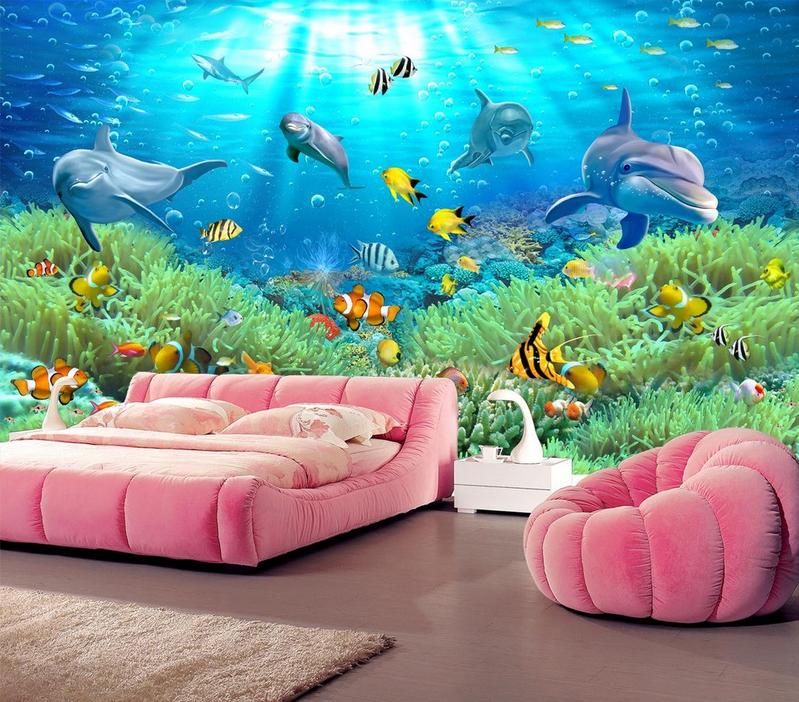 3D Grüne Korallen Fische 733 Tapete Wandgemälde Tapete Tapeten Bild Familie DE  | Starke Hitze- und Hitzebeständigkeit  | Kaufen Sie beruhigt und glücklich spielen  | New Listing