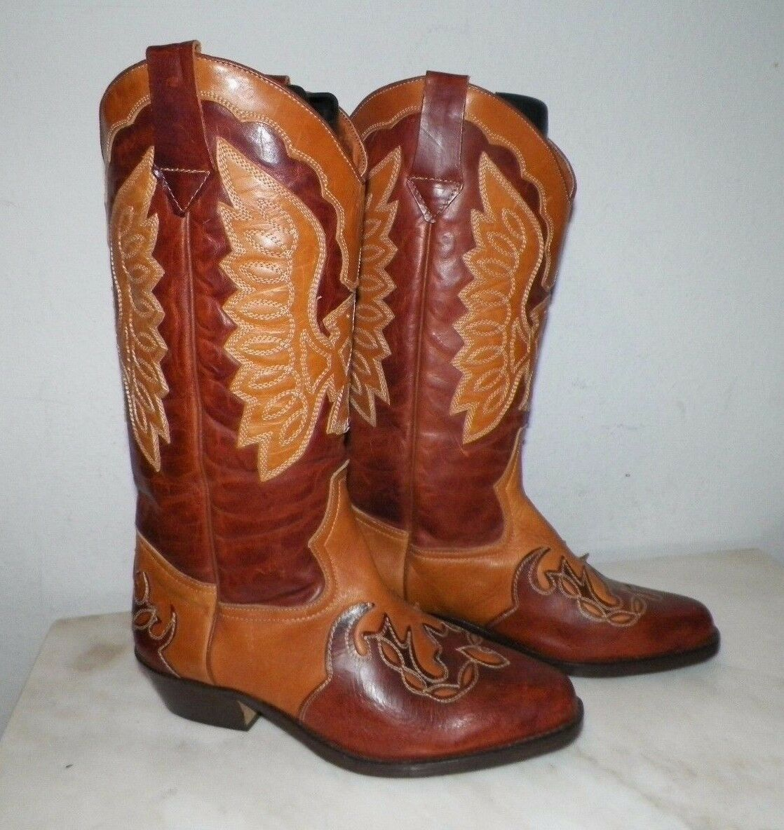 WOMEN'S NORDSTROM FANCY WESTERN COWBOY BOOTS LIGHT & DARK BROWN SZ 42 ITALY MADE