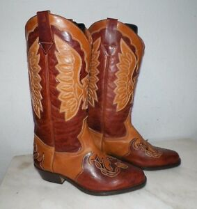 b6fb5d34bcf Details about WOMEN'S NORDSTROM FANCY WESTERN COWBOY BOOTS LIGHT & DARK  BROWN SZ 42 ITALY MADE