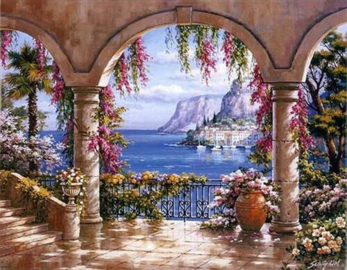 Van-Go Paint-By-Number Kit Seaside Landscape Greece