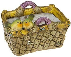 Garten deko blumentopf bertopf korb mit v gelchen vogel for Blumentopf korb