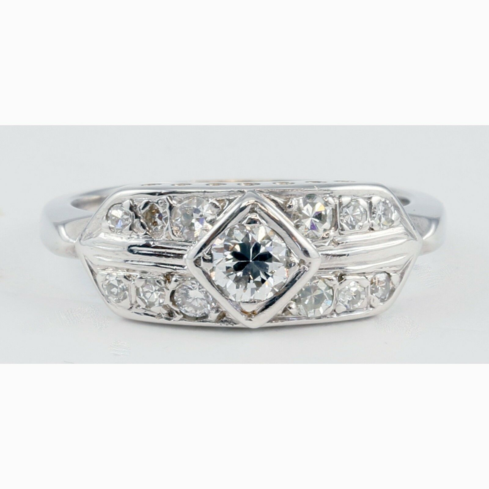 Antique Style 14k White gold Natural Round Diamond Ring Engagement or Fashion