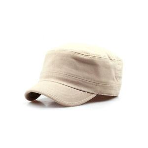 cd8a6b338 Details about Unisex Mens Womens Short Brim Casual Cadet Military Cap  Trucker Hats Beige