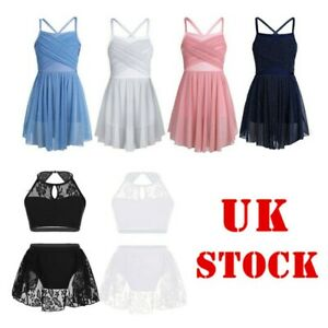 UK-Girls-Ballet-Dance-Dress-Kid-Glittery-Leotard-Lyrical-Dancewear-Costume-4-14Y