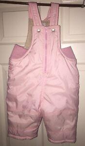 70de82e35 Baby Gap Girls Size 6-12 Months Pink Snow Suit Overalls Fleece Lined ...