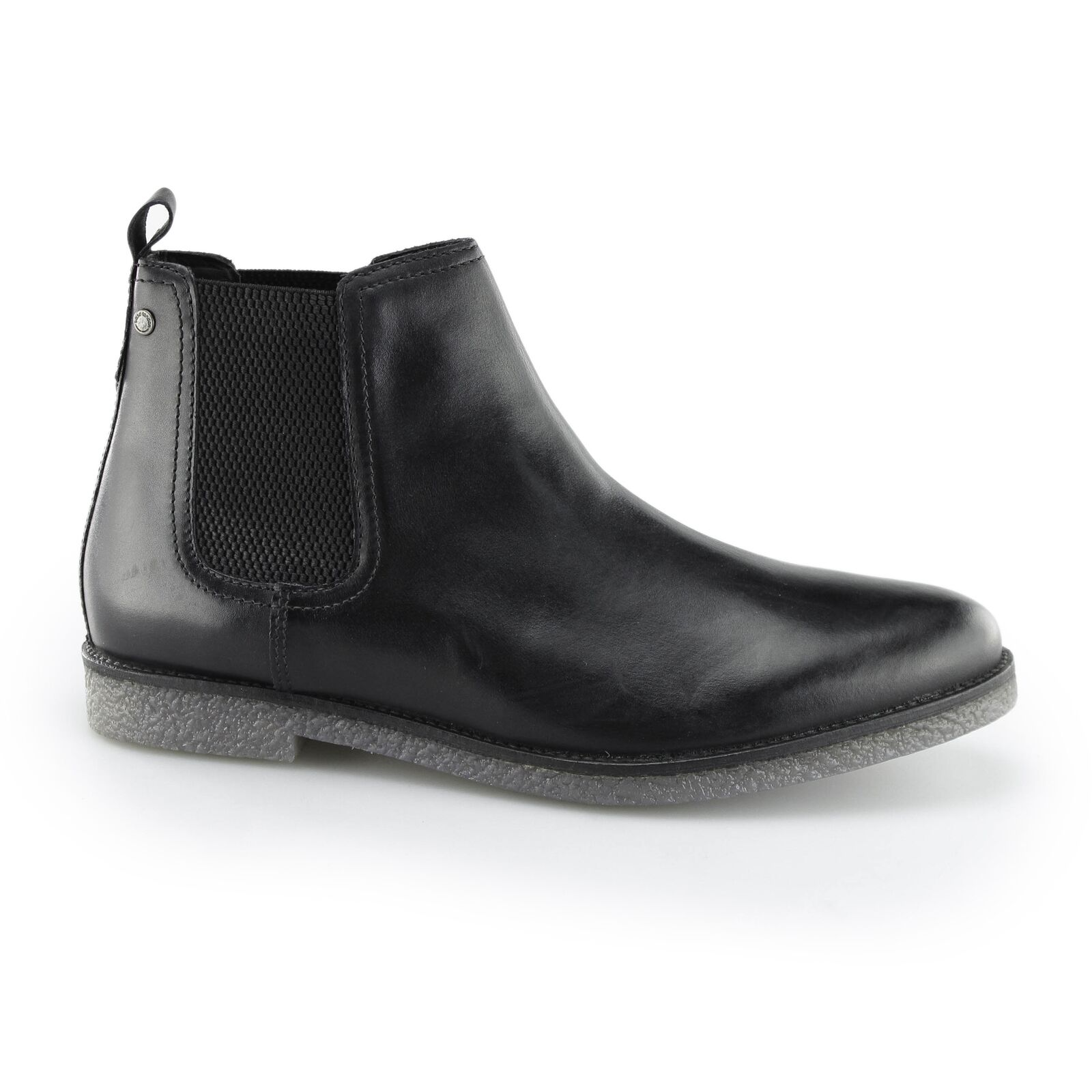 Base London FERDINAND Homme en Cuir à Enfiler à Talon Bottines Chelsea Ciré Noir