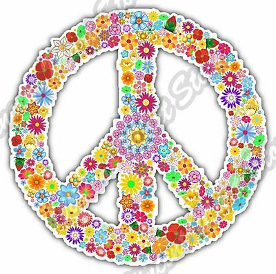 "Hippie Bus Peace Love Woodstock Life Car Bumper Vinyl Sticker Decal 4.6X4.6/"""