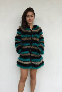 Vintage-VTG-70s-1970s-Knit-Multicolored-Rabbit-Fur-Striped-Button-Up-Jacket-Coat