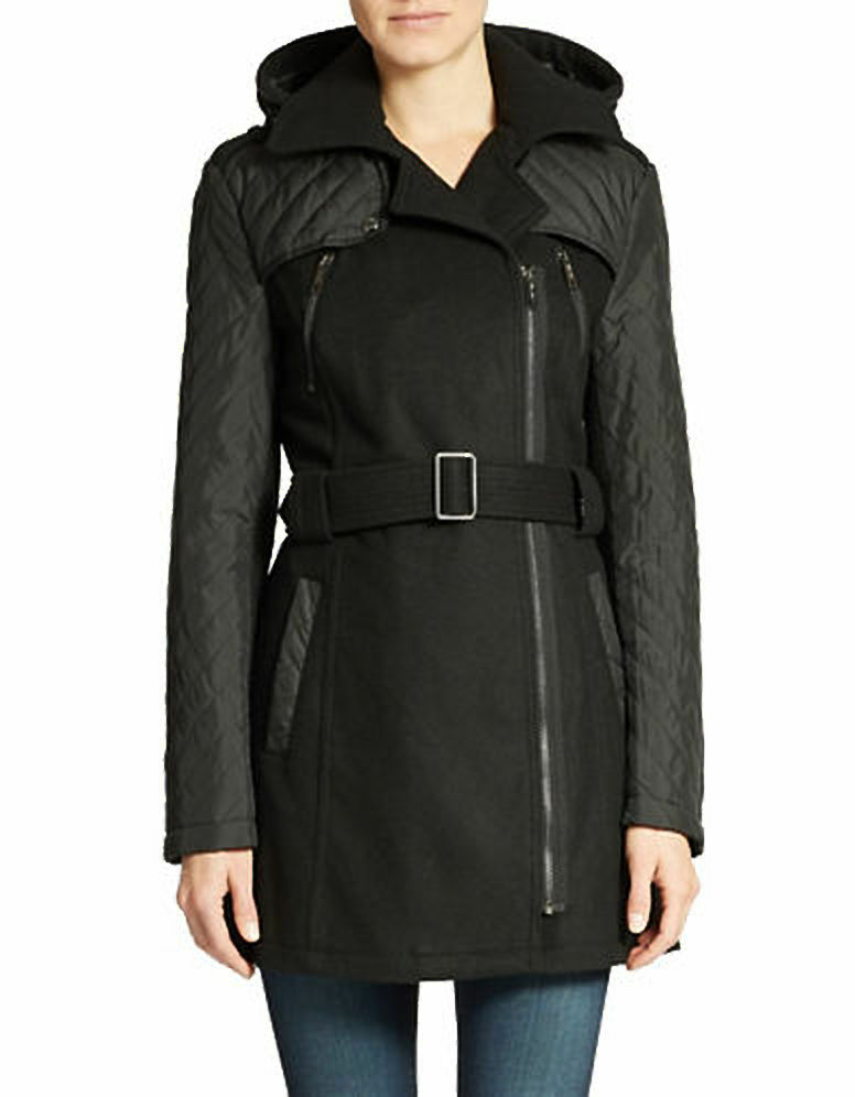 Kenneth Cole Reaction Mixed-Media Wooll Blend Walker Coat Size 10