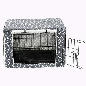 Large-Grey-Geometric-Design-Water-Repellent-Crate-Cover-XL-42-034-Secure-Dog-Den