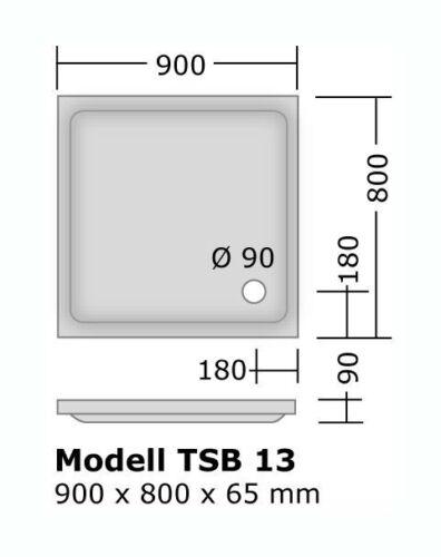 Duschwanne 90x80 cm bzw 800x900 mm flach Duschbecken 900x800 mm bzw 80x90 cm
