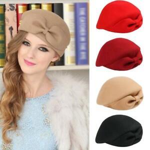 Women Fascinators Female Beret British Top Hat Bow Wool Felt Cap Vintage Wool Beret