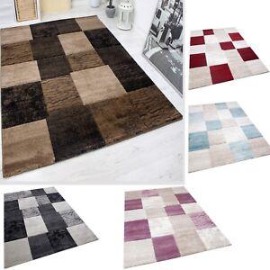 Tapis Moderne Design Classique à Carreaux Moucheté Marron Rouge Gris ...